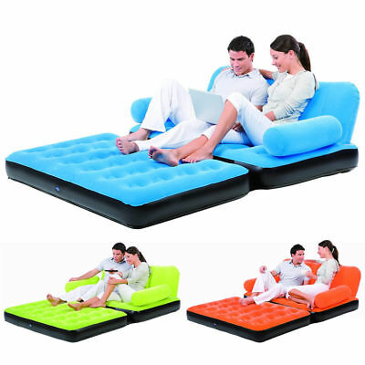 Double Sofa Air Bed Inflatable Blow Up Couch Furniture With Air Pump Camping Bed