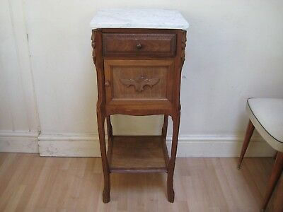 Beautiful Antique French Marble Topped Bedside Table, Pot Stand / Cabinet