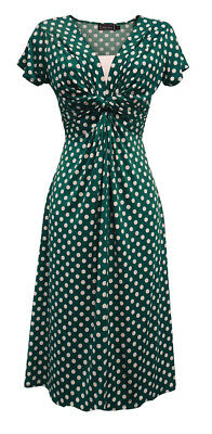 New Ladies Retro WW2 Land girl 1940s Wartime Teal Polka Dot Tea Dress