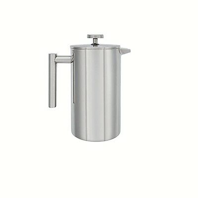 Stainless Steel Tea Coffee Pot Double wall Insulated With Press Filter 3 Cups