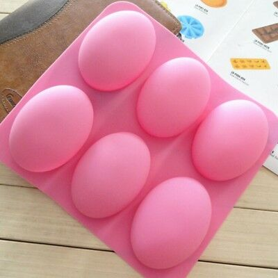 Silicone 6-Cavity Oval Soap Mold Tray For Chocolate Cake Baking Mould Tool DIY