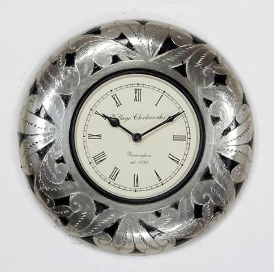 """Antique Vintage Hand Made Ethnic Wooden White Metal Finish 12"""" Wall Clock - 088"""