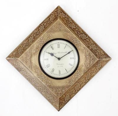 """Antique Vintage Hand Made Ethnic Wooden Brass Finish 12"""" Wall Clock-090"""
