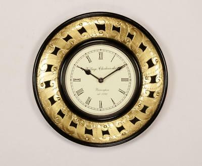 """Antique Vintage Hand Made Ethnic Wooden Brass Finish 12"""" Wall Clock-0075"""