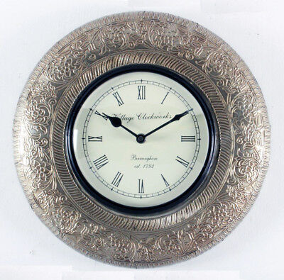 """Antique Vintage Hand Made Ethnic Wooden White Metal Finish 12"""" Wall Clock - 053"""