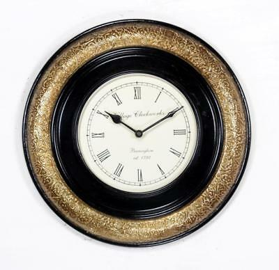 """Antique Vintage Hand Made Ethnic Wooden Brass Finish 12"""" Wall Clock-0085"""