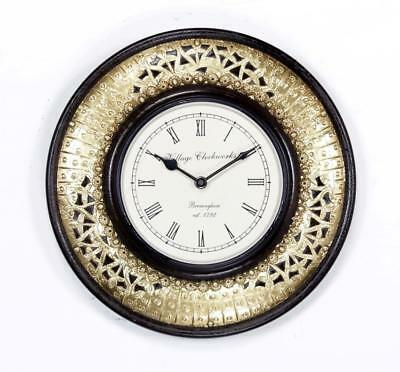 """Antique Vintage Hand Made Ethnic Wooden Brass Finish 12"""" Wall Clock-0089"""