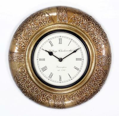 """Antique Vintage Hand Made Ethnic Wooden Brass Finish 12"""" Wall Clock-009"""