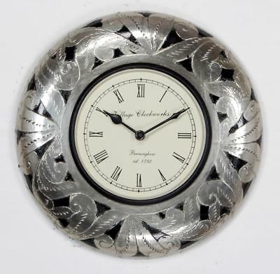"""Antique Vintage Hand Made Ethnic Wooden White Metal Finish 12"""" Wall Clock - 048"""