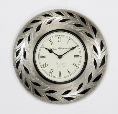 """Antique Vintage Hand Made Ethnic Wooden White Metal Finish 12"""" Wall Clock - 081"""