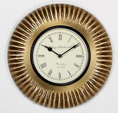"""Antique Vintage Hand Made Ethnic Wooden Brass Finish 12"""" Wall Clock-0059"""