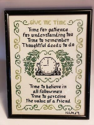Antique Framed Vintage  Completed Cross Stitch  Signed and dated 1967