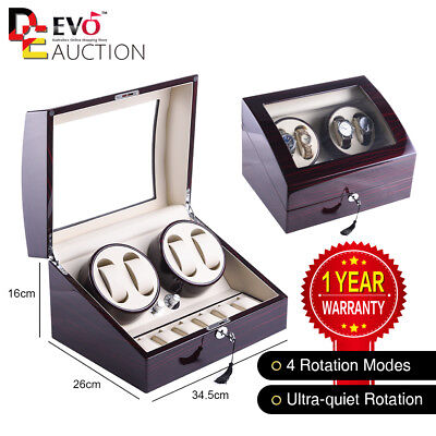 XTELARY 4+6 Uhrenbeweger 4 Uhren Klavierlack 4 Rotationsprogrammen watch winder