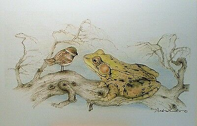 ACEO Miniature Picture Art Trading Card Frog Bird Chickadee Sparrow Drawing