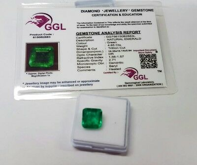 4.65ct Smeraldo NATURALE certificato GGL Trillion Cut 10x10x5mm