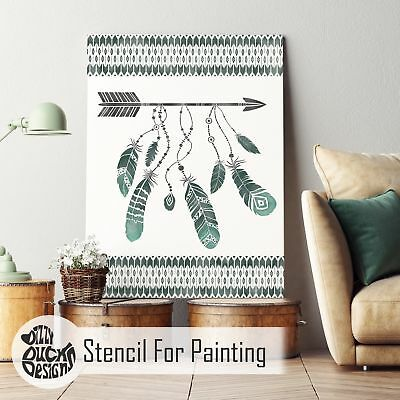 FEATHERS IN FLIGHT Native American Indian Boho Arrow Stencil for Painting