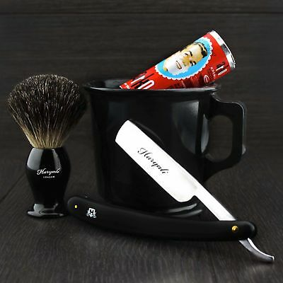 OLD BARBER STYLE Classic Shaving Starter kit MUG BRUSH SOAP AND RAZOR Gift Set.