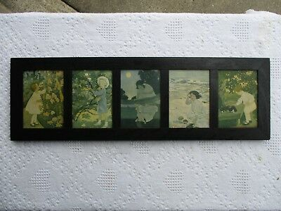 Antique Original Yard Long Ebonized Oak Frame of 5 Prints of Jessie Wilcox Smith