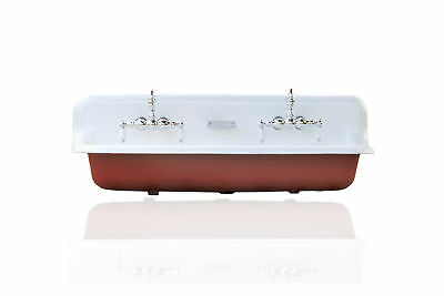 """Large 48"""" Antique Inspired Farm Sink Red Cast Iron Porcelain Trough Sink Package"""