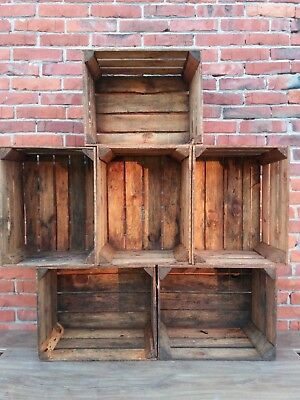 6 Wooden Crates Fruit Apple Boxes Vintage Home Decor  Cleaned Vintage Style!