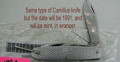 Army Camillus 4 bladed stainless survival knife dated 1991 MINT (LOC=Gr Bk Cs)