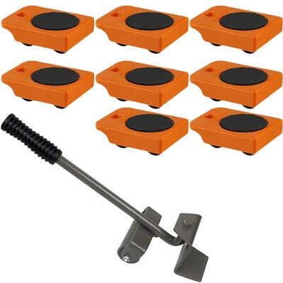 """8pc Mover Rollers with Handle, Furniture & Appliances Roll with Ease 4"""" x 3"""""""