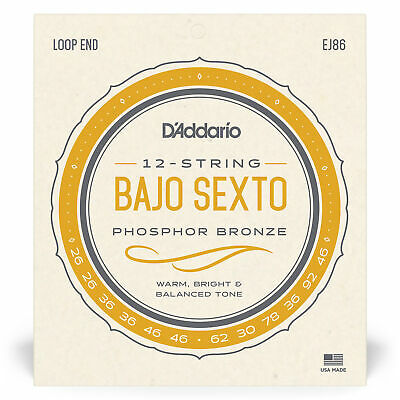 D'Addario EJ86 Bajo Sexto Strings Phosphor Bronze Loop End Extra-Bright 12String