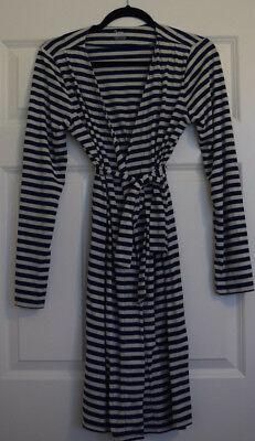 """Bump In The Night"" Maternity Robe Navy Blue Stripe Size Small"