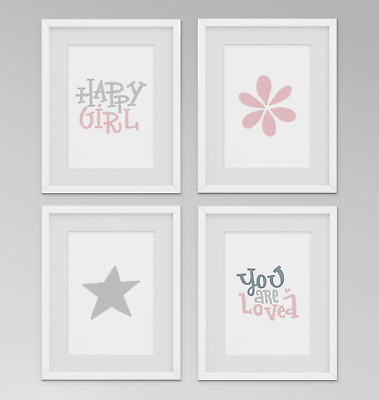Set of 4 Girls Nursery Bedroom Prints Pictures Happy Girl You Are Loved - Set 6