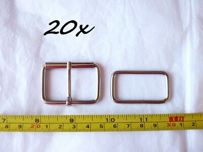 x20 new 38mm 1.5 1 1/2 INCH LARGE ROLLER BUCKLE + LOOPS nickle plated larp belt