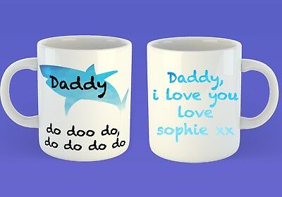 fathers day gift daddy do doo personalised cups shark themed cup tea coffee mugs