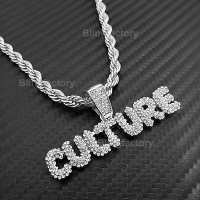 925 Sterling Silver White Gold-Tone Iced Style Hip Hop Swag Bling Bubble Letter Q Pendant with 20 1 Row Chain