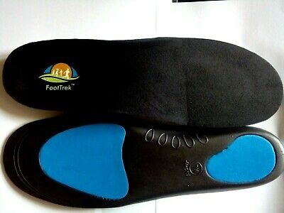 FootTrek orthotic arch support with metatarsal and heel cushion shoe insoles.