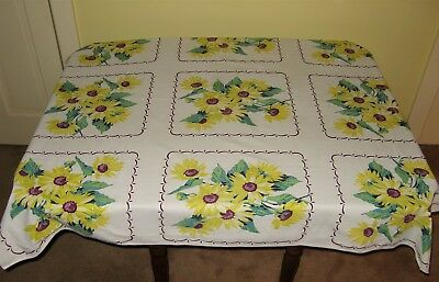 VINTAGE COTTON TABLECLOTH Large Yellow Daisies