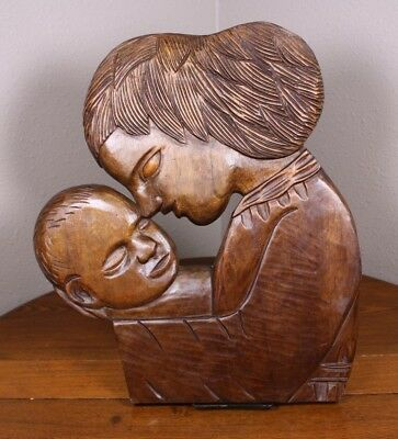 "A Mother Child Son Hand Carved  Wood Vtg Art Wall Decor Folk Art 16"" Signed LJC"