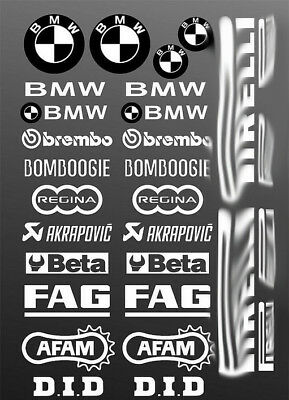 White Stickers Adesivi Grafiche Moto Sponsor Bmw S1000Rr Hp4 Gs Belly Pan Decal