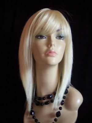 100% Real Human Hair Lady Wig With Skin Top Parting Pale Blonde 613#