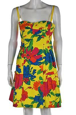 46a44f9f0917 NEW Nanette Lepore Womens Dress Size 8 Yellow Floral Sheath Sundress Knee  Length