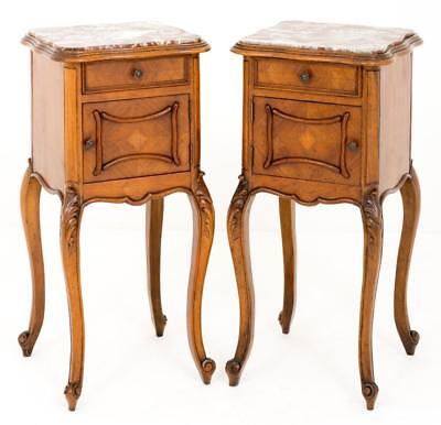 Pair Walnut French Bedside Cabinets Tables Nightstands