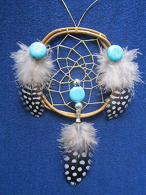 "Authentic Guinea  Dreamcatcher 2.5"" Native American Made Bellamino Acoma Pueblo"