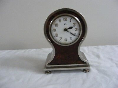 BEAUTIFUL FRENCH ALARM STAINLESS STEEL BALOON MANTLE CLOCK c1910-20 SHELL FRONT