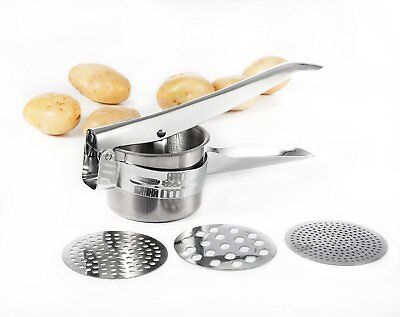 Stainless Steel Potato Masher Ricer Fruit Press with 3 Interchangeable Discs