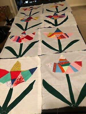 Lot of 11 Vintage Quilt Blocks Squares Patchwork Tulip from Mississippi Delta