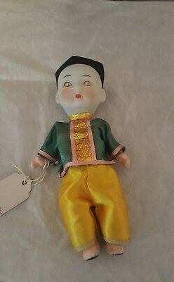 Antique Chinese Squeaky Doll Man Porcelain Hand Painted Silk Outfit