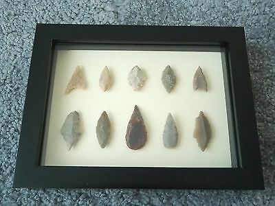 Neolithic Arrowheads in 3D Picture Frame, Authentic Artifacts 4000BC (0432)