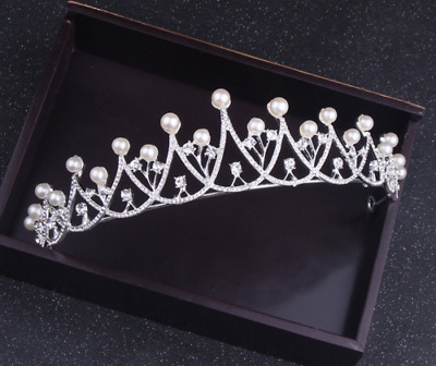 5cm High Large Adult Crystal Pearl Wedding Bridal Party Pageant Prom Tiara Crown