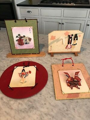 HANDMADE JAPANESE paper Wall Hangings set of 3 and one on a wooden stand 1950's