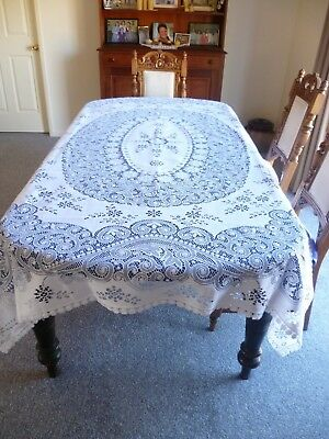 STUNNING VINTAGE  WHITE POLYESTER TABLECLOTH 224cms x 179 cms MADE IN SCOTLAND