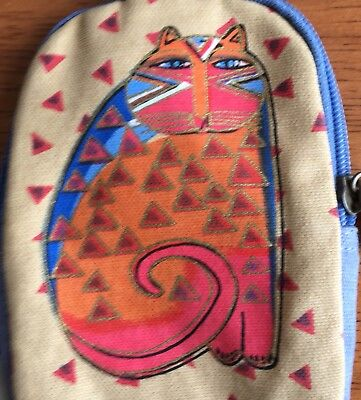 Laurel Burch Small Purse Coin Purse Wrist Strap Cat Attached Pocket Mirror