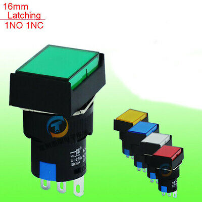 Rectangular Latching Push Button Switch 1NO+1NC 16mm 250V/5A + Protection Cover